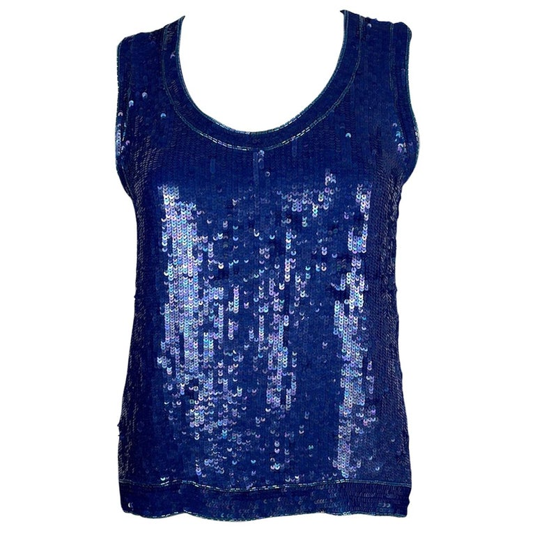 Saint Laurent Blue Sequins Silk Tank Top Sparkling Small size For Sale