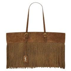 Saint Laurent Boucle Fringed Studded Vintage Suede Tote Bag