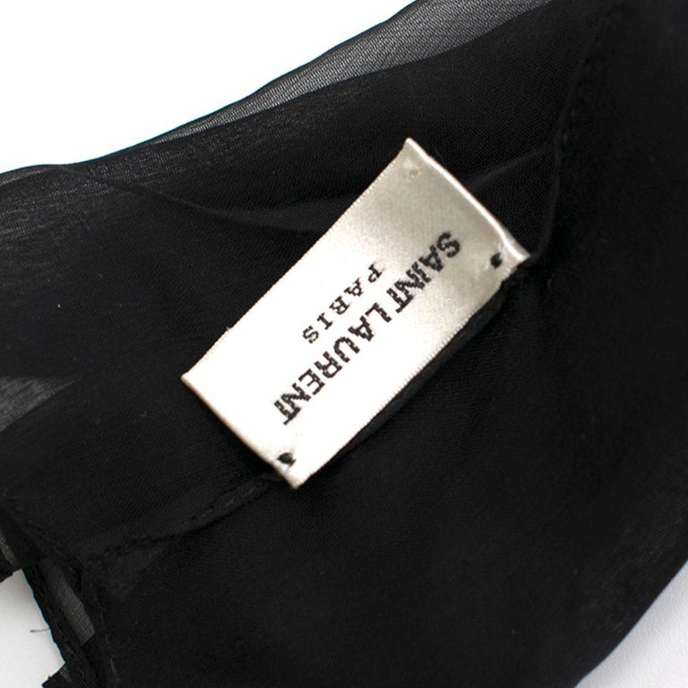 Saint Laurent Bow In Black Silk Muslin With Leather Collar In Excellent Condition In London, GB
