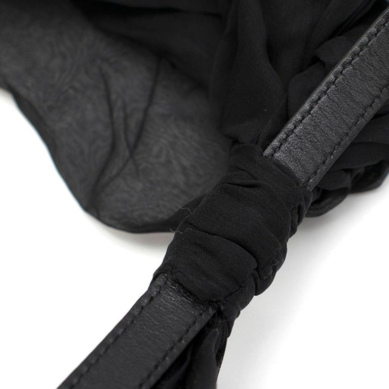 Saint Laurent Bow In Black Silk Muslin With Leather Collar 2