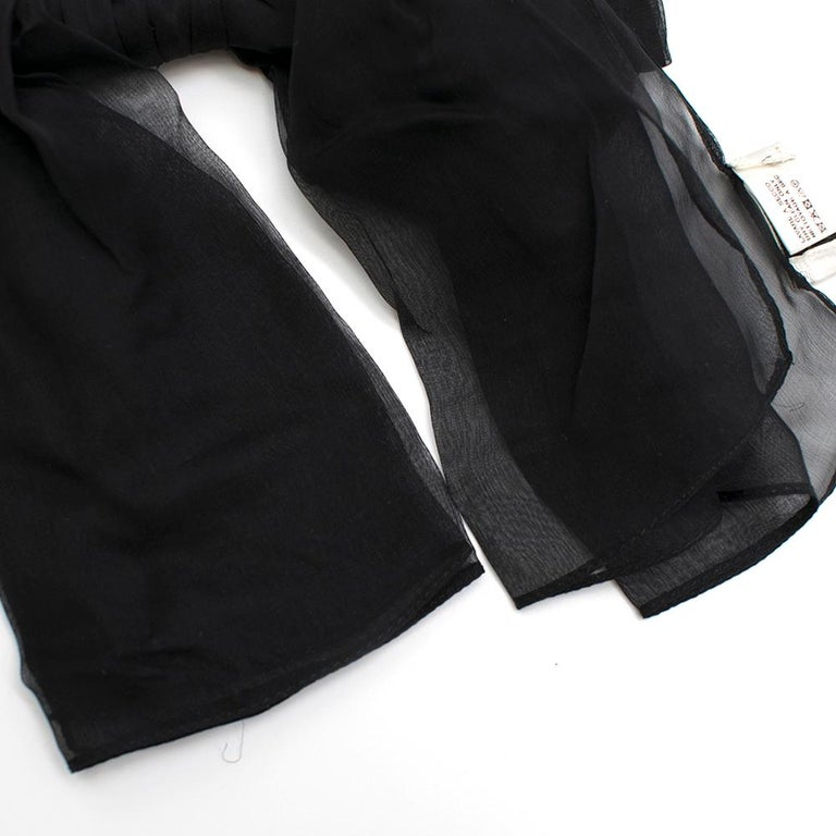 Saint Laurent Bow In Black Silk Muslin With Leather Collar 3