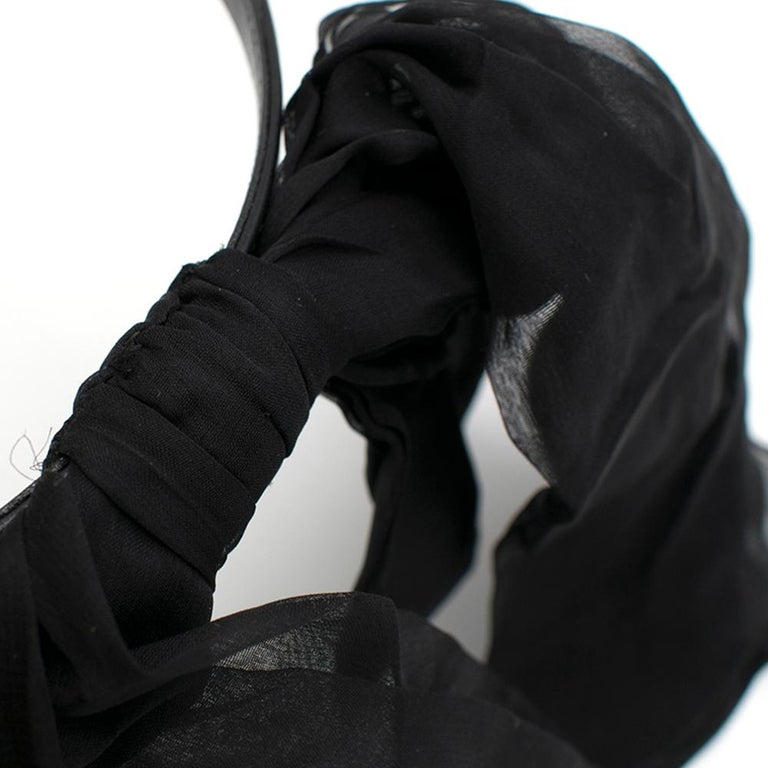 Saint Laurent Bow In Black Silk Muslin With Leather Collar 4