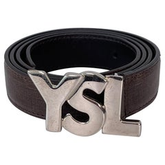Saint Laurent Brown Belt / YSL Silver Logo Buckle (Size 85/34)