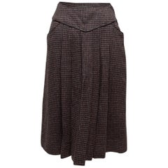 Saint Laurent Brown Houndstooth Pleated Skirt