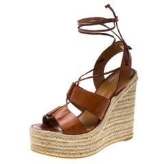 Saint Laurent Brown Leather Lace Up Espadrille Wedge Sandals Size 36