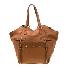 Saint Laurent Brown Leather Large Downtown Tote
