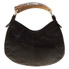 Saint Laurent Brown Leather Mombasa Hobo