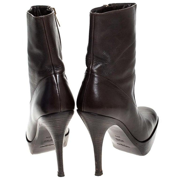 Black Saint Laurent Brown Leather Platform Ankle Boots Size 36.5 For Sale