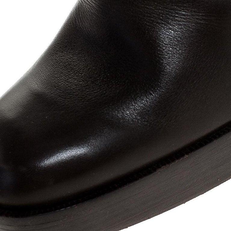 Women's Saint Laurent Brown Leather Platform Ankle Boots Size 36.5 For Sale