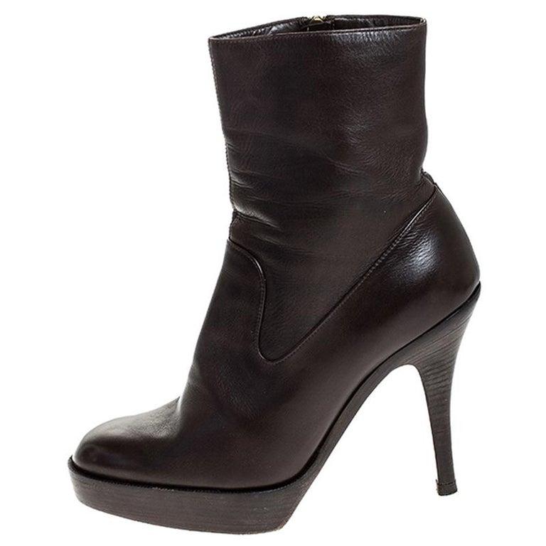 Saint Laurent Brown Leather Platform Ankle Boots Size 36.5 For Sale 1
