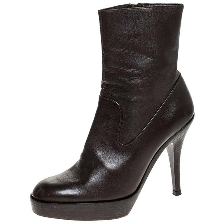 Saint Laurent Brown Leather Platform Ankle Boots Size 36.5 For Sale
