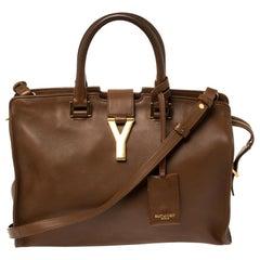 Saint Laurent Brown Leather Small Cabas Ligne Y Tote