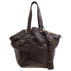 Saint Laurent Brown Leather Small Downtown Tote