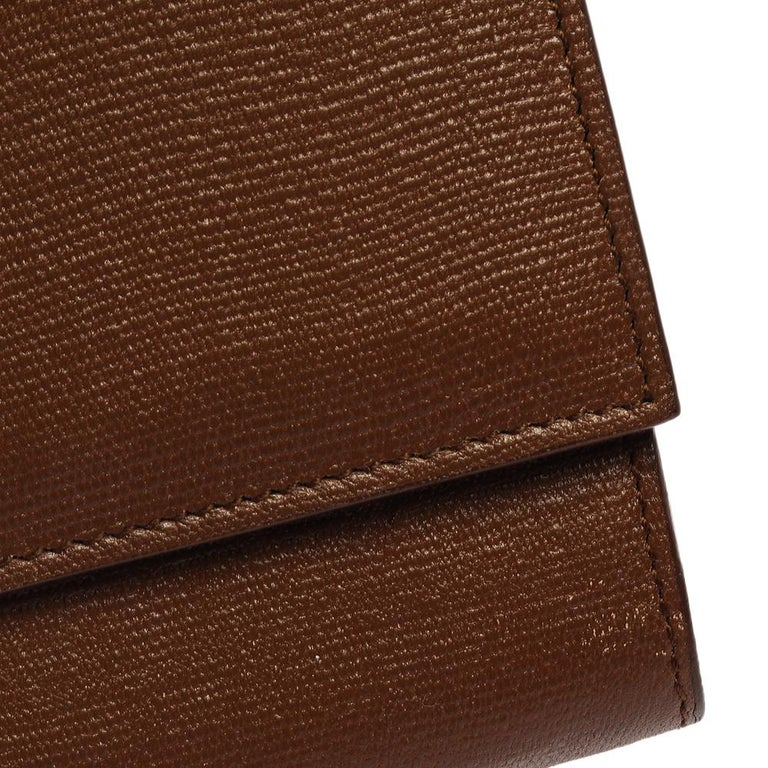 Saint Laurent Brown Leather Y-Ligne Clutch For Sale 6