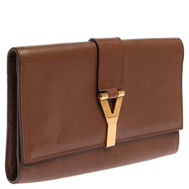 Saint Laurent Brown Leather Y-Ligne Clutch In Good Condition For Sale In Dubai, Al Qouz 2