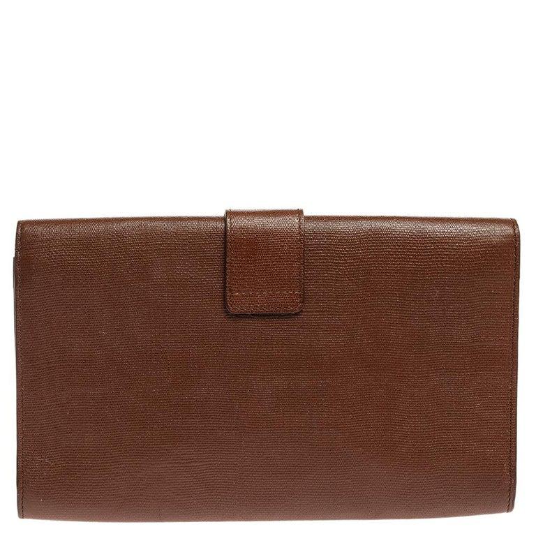 Women's Saint Laurent Brown Leather Y-Ligne Clutch For Sale