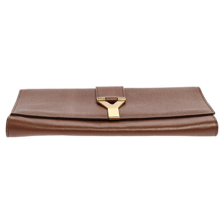 Saint Laurent Brown Leather Y-Ligne Clutch For Sale 1