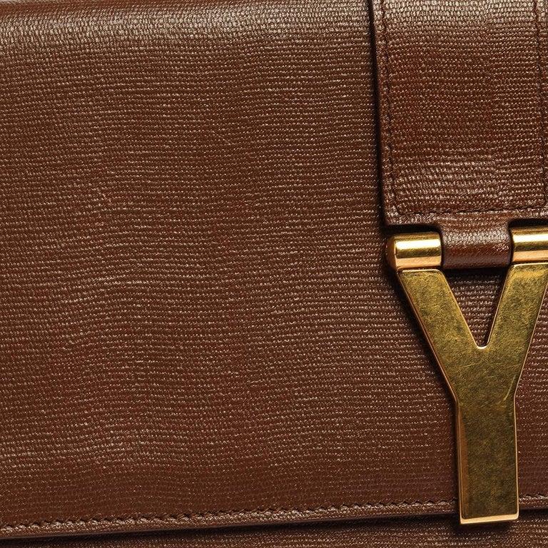 Saint Laurent Brown Leather Y-Ligne Clutch For Sale 3