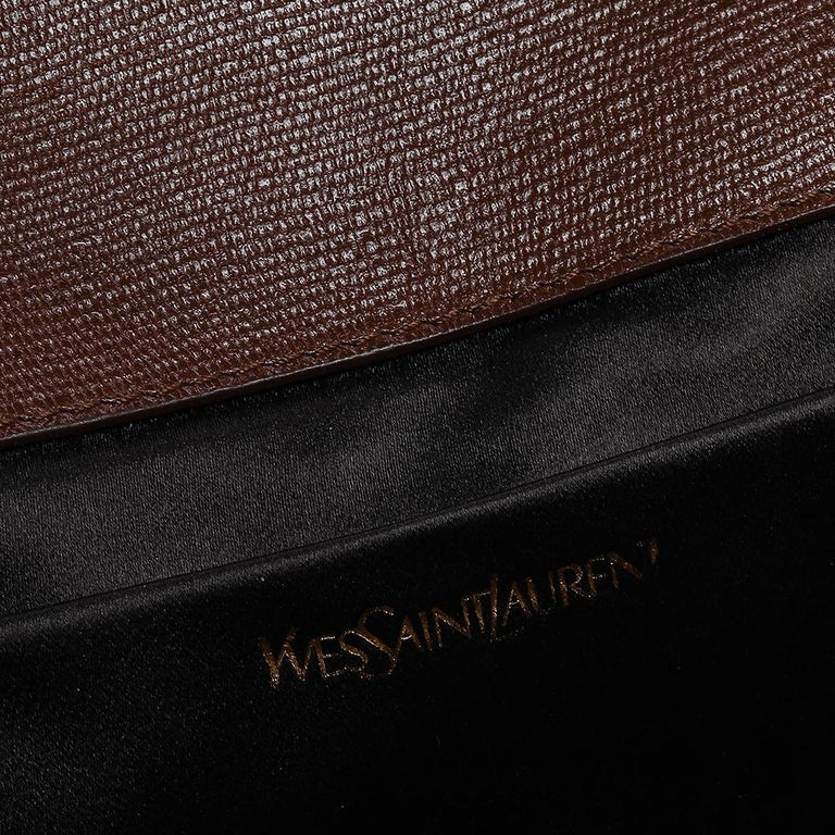 Saint Laurent Brown Leather Y-Ligne Clutch For Sale 4