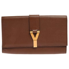 Saint Laurent Brown Leather Y-Ligne Clutch