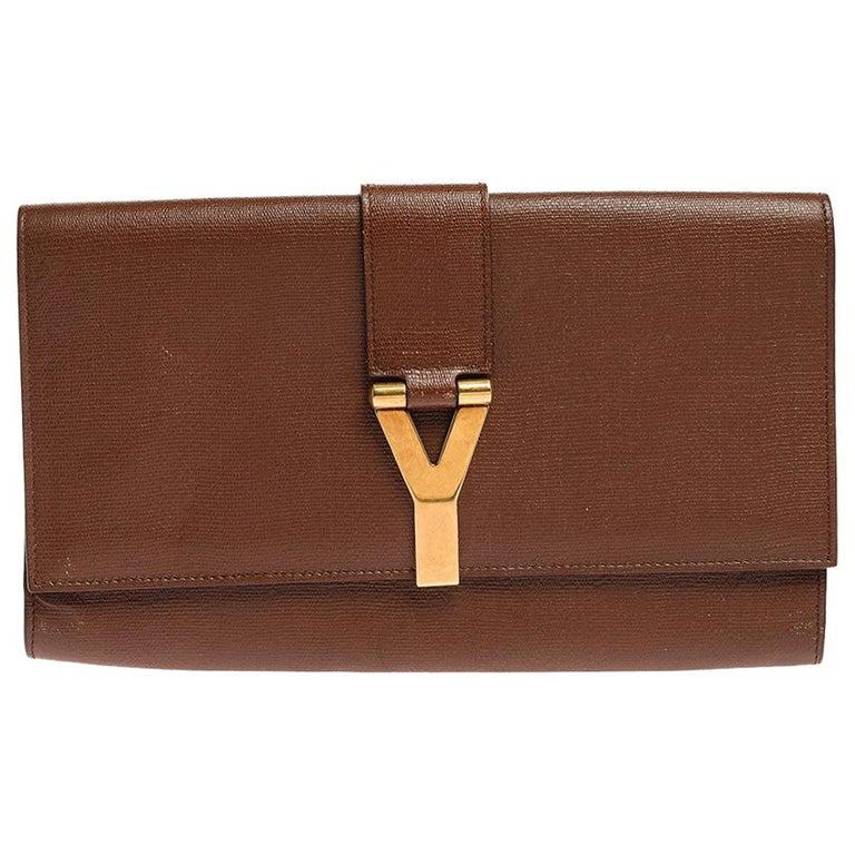 Saint Laurent Brown Leather Y-Ligne Clutch For Sale