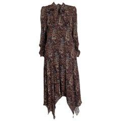 SAINT LAURENT brown LONG SLEEE PAISLEY CREPE PUSSY BOW MIDI Dress 42 L
