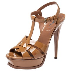 Saint Laurent Brown Patent Leather Tribute Platform Sandals Size 37.5