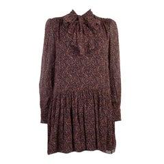 SAINT LAURENT brown, red silk PARSLEY PUSSY BOW MIN Shift Dress 38