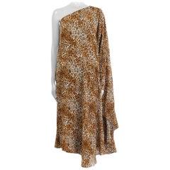 SAINT LAURENT brown silk LEOPARD ONE SHOULDER KAFTAN Dress 42 L