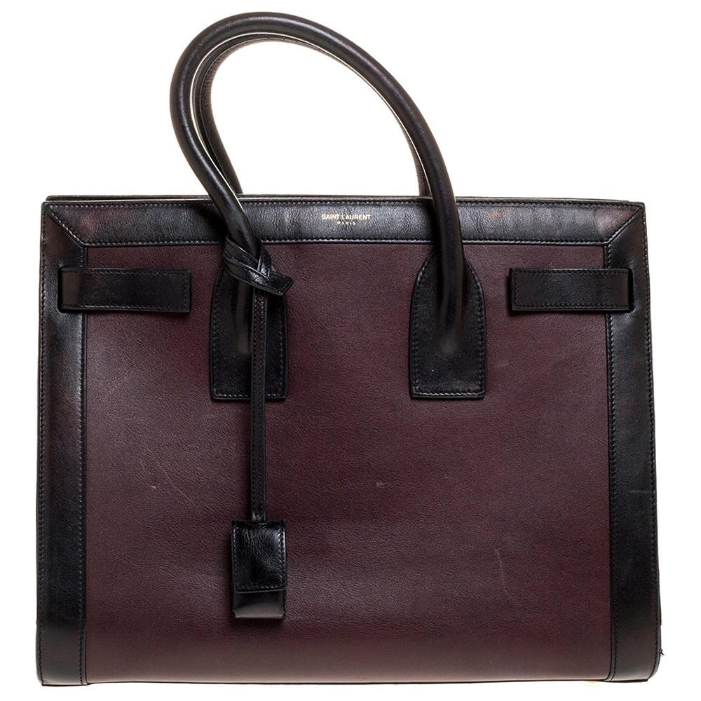 Saint Laurent Burgundy/Black Leather Small Classic Sac De Jour Tote