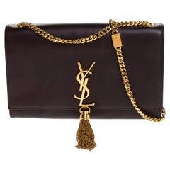 Saint Laurent Burgundy Leather Kate Monogram Tassel Shoulder Bag
