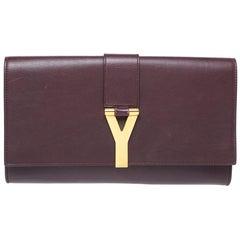 Saint Laurent Burgundy Leather Ligne Y Clutch