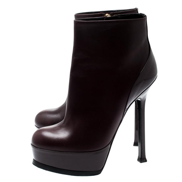 Saint Laurent Burgundy Leather Platform Ankle Booties Size 36 For Sale 2