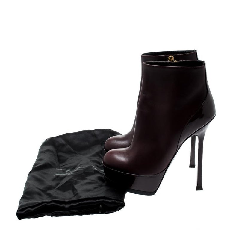 Saint Laurent Burgundy Leather Platform Ankle Booties Size 36 For Sale 3