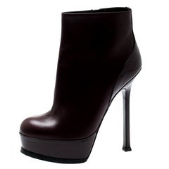 Saint Laurent Burgundy Leather Platform Ankle Booties Size 36