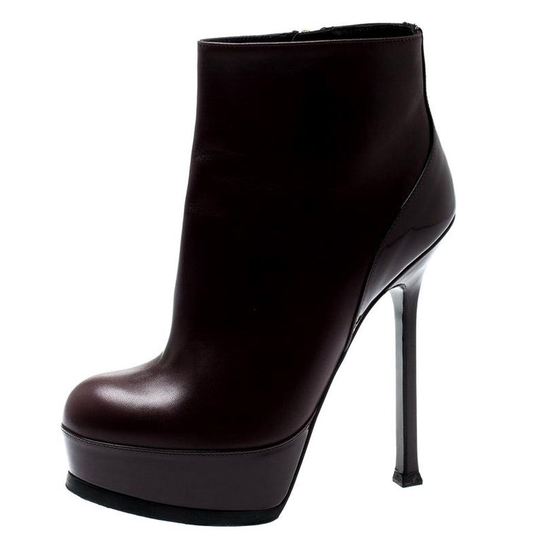 Saint Laurent Burgundy Leather Platform Ankle Booties Size 36 For Sale