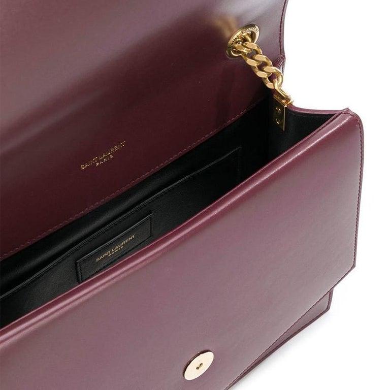 Black Saint Laurent Sulpice MM Burgundy Leather Crossbody Bag For Sale