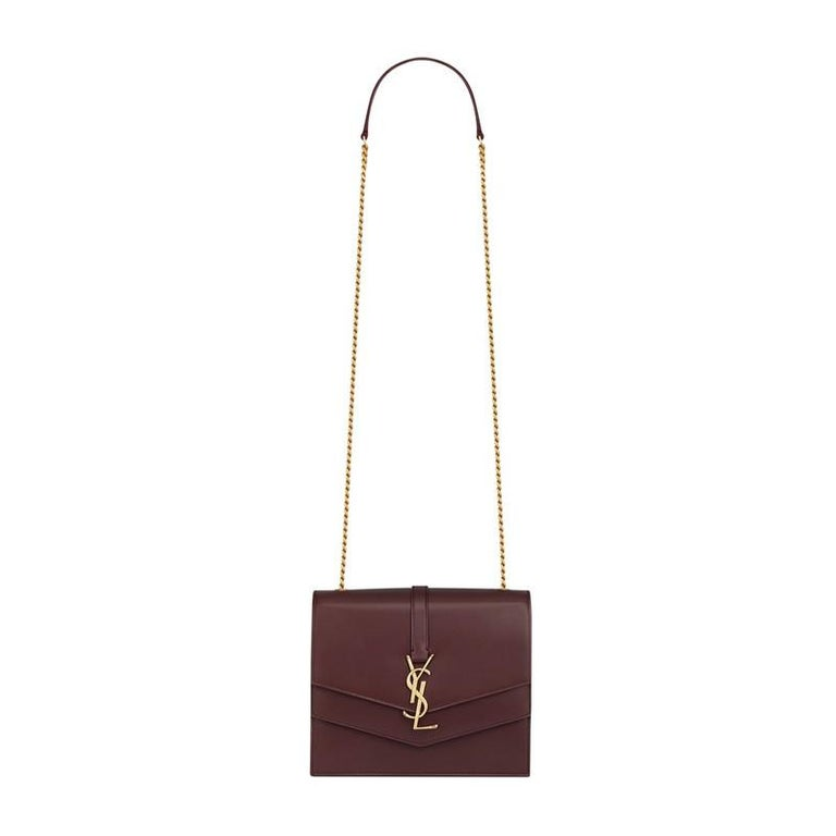 Saint Laurent Sulpice MM Burgundy Leather Crossbody Bag In New Condition For Sale In Montreal, Quebec