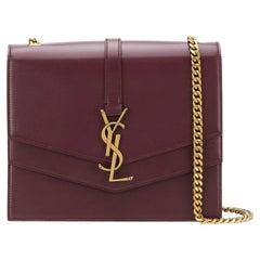 Saint Laurent Burgundy Leather Sulpice MM Crossbody Bag