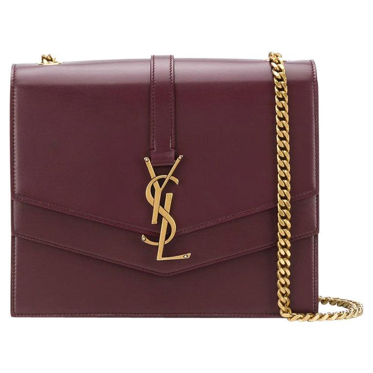 Saint Laurent Sulpice MM Burgundy Leather Crossbody Bag For Sale