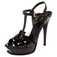 Saint Laurent Burgundy Leather Tribute Sandals Size 39.5