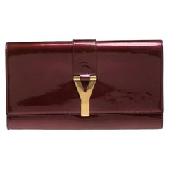 Saint Laurent Burgundy Patent Leather Large Chyc Clutch