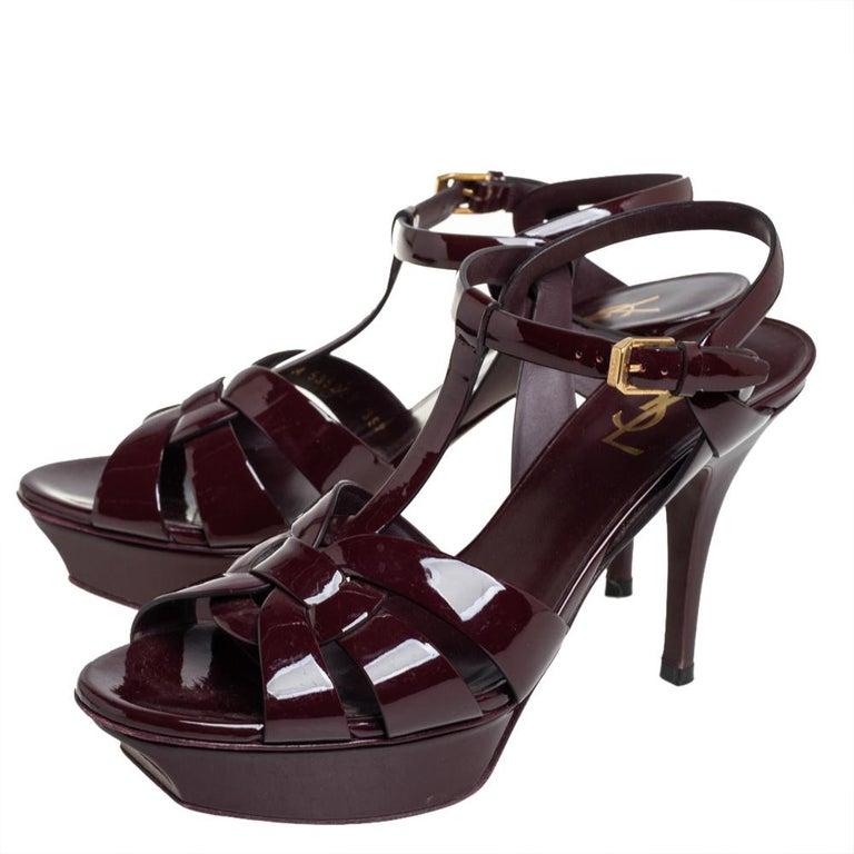 Saint Laurent Burgundy Patent Leather Tribute Ankle Strap Sandals Size 39.5 In Good Condition For Sale In Dubai, Al Qouz 2