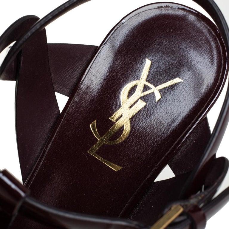 Women's Saint Laurent Burgundy Patent Leather Tribute Ankle Strap Sandals Size 39.5 For Sale