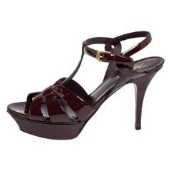 Saint Laurent Burgundy Patent Leather Tribute Ankle Strap Sandals Size 39.5