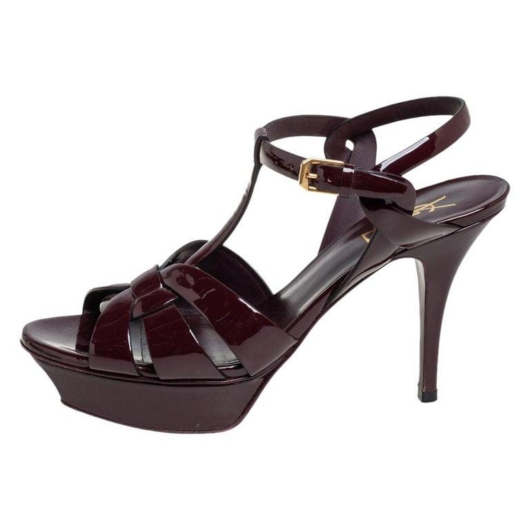 Saint Laurent Burgundy Patent Leather Tribute Ankle Strap Sandals Size 39.5 For Sale