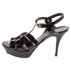 Saint Laurent Burgundy Patent Leather Tribute Ankle Strap Sandals Size 40
