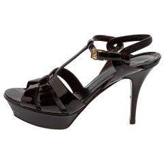 Saint Laurent Burgundy Patent Leather Tribute Platform Sandals Size 40