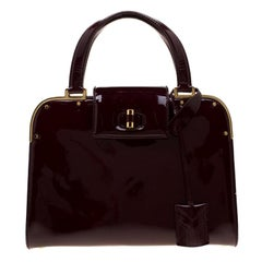 Saint Laurent Burgundy Patent Leather Uptown Small Tote