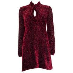 SAINT LAURENT burgundy silk PUSSY BOW DEVORE CHIFFON MINI Dress 42 L